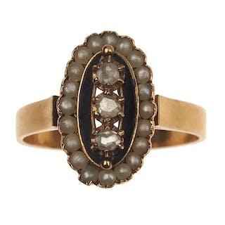 18 ct. Gold Ring mit 3 Diamanten, Perlen & Emaille Victorian Frankreich um 1880