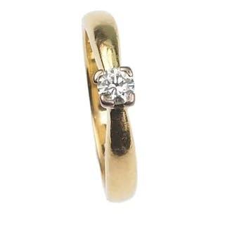 15 ct. Gold & Platin Ring / Verlobungsring mit Diamant Solitaire im