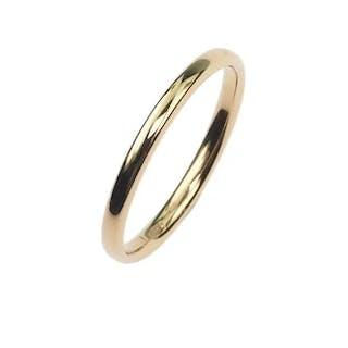 18 ct. Gelbgold Ehering / Trauring für die Frau, ein glatter Goldring