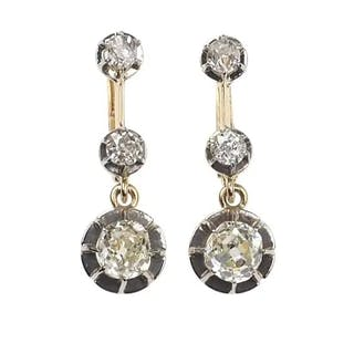 18 ct. Gold Art nouveau Ohrringe mit Diamanten, aus den Niederlanden