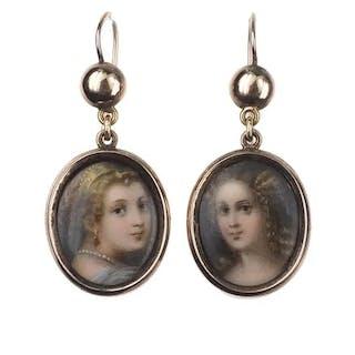9 ct. Gold Ohrringe mit handgemalter Miniaturmalerei auf Porzellan