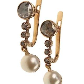 18 ct. Gold Ohrringe mit Diamanten & Perlen Jugendstil Belgien um 1900