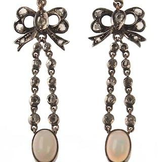 15 ct. Gold / Silber Ohrringe mit Diamanten & Opal Victorian England um 1900