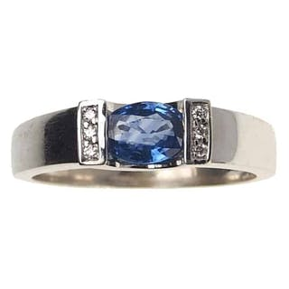 18 ct. Weißgold Vintage Ring / Verlobungsring mit Ceylon-Saphir &