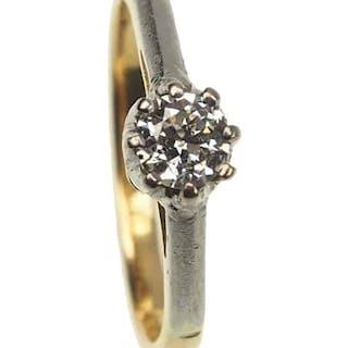 18 ct. Gold & Platin Vintage Ring / Verlobungsring mit Diamant Solitaire