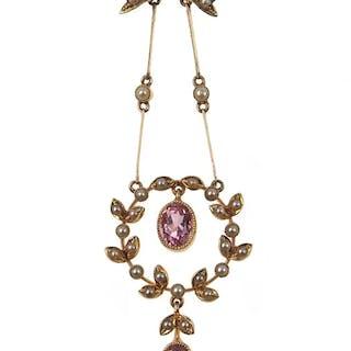 15 ct. Gold Collier mit pinken Turmalinen & Perlen, antiker Halsschmuck