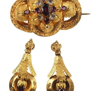 15 ct. Gold Set Brosche & Ohrringe Victorian England um 1860
