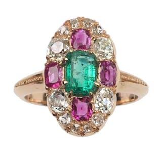 18 ct. Roségold Ring / Verlobungsring mit Smaragd, Rubinen & Diamanten