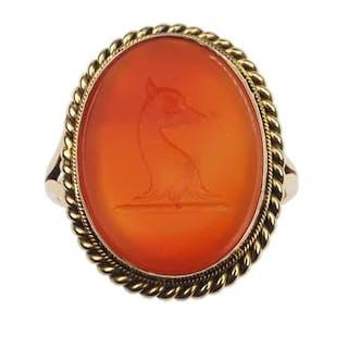 """9 ct. Gold Ring mit Karneol-Siegel, handgeschnittenes Intaglio """"Fuchs"""""""