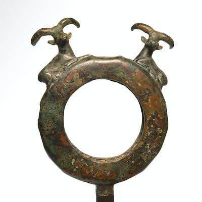 Near Eastern Bronze Ring Attachment With Ibex Finials, c. 2nd Millennium B.C.