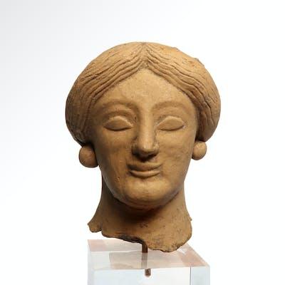 Archaic Greek Terracotta Head of a Lady, c. 5th- 4th century B.C.
