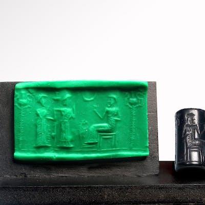 Old Babylonian Hematite Cylinder Seal, Presentation Scene, c. 2000-1800 B.C.