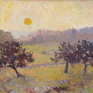 Albert MALET - Pommiers soleil couchant