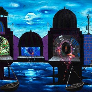 Moonlight - Temples at Banaras - Manu Parekh