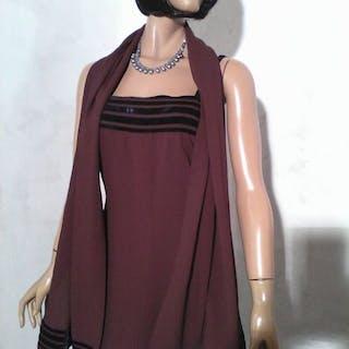 Louis Féraud - Robe vintage de soirée avec étole