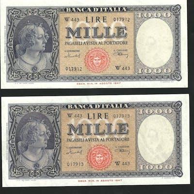 Italia - 2 x 1000 lire  11/02/1949 - serie sostitutiva...