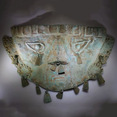 Pre-Columbian Copper Sican Life-size Lambayeque Copper Funerary Mask