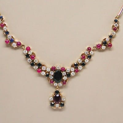 18 kt. Gold - Necklace - 13.30 ct Mixed - Diamond, Ruby, Sapphire