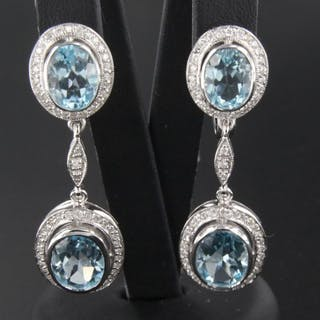 No Reserve Price 14 Kt White Gold Dangle Earrings Set With Cur S Barnebys Co Uk