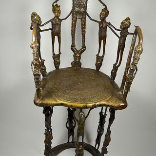 Royal throne - Bronze - BAMUN / BANGWA / BAMILEKE - Cameroon