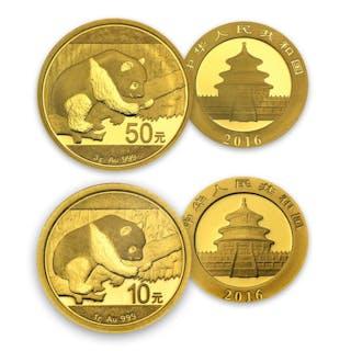 China - 10 & 50 Yuan 2016 Panda 2016 (2 coins) - 1g + 3g - Gold