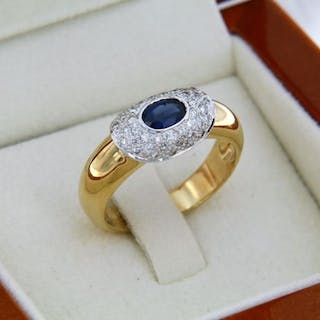 18 kt gold ring, sapphire and diamonds - finger: 56 - easy dimensioning