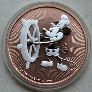 Niue - 2 Dollars 2017 Mickey Mouse Steamboat Willie - Rose gold 1 oz - Silber