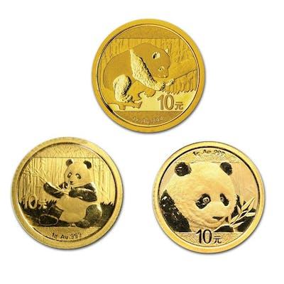 China - 10 Yuan 2016, 2017 and 2018 'Panda'- Gold