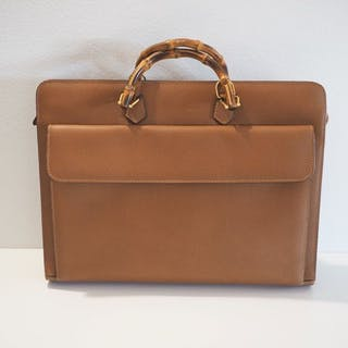 Gucci - Business Bamboo Briefcase - Vintage – Current sales – Barnebys.com 00a24e71294