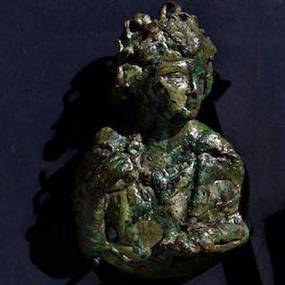 Ancient Roman Bronze Bronze weight with Dionysus representation - 12×7 cm - (1)