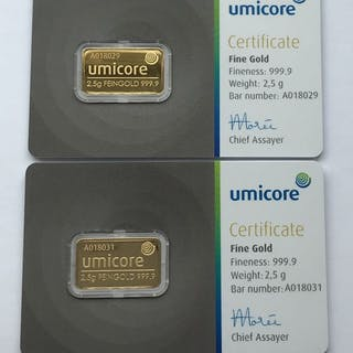 2 x 2,5 Gramm- Gold .999 (24 Karat) - Umicore - Seal + Zertifikat
