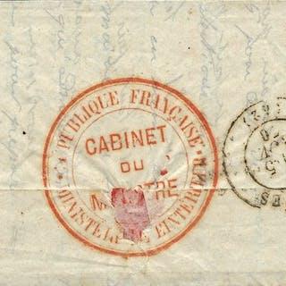 France 1870 - Ballon monté Ferdinand Flocon très rare pli confié - Yvert 37