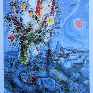 Marc Chagall (d'après) - La dormeuse aux fleurs