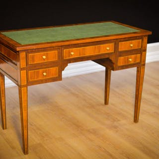 Desk, Writing table, Inlaid, Leather Top, Walnut - Napoleon III Style