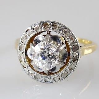 18 kt. Gold, Platinum - Ring - 0.40 ct Diamond - Diamond