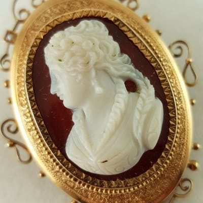 14 kt. Pink gold - Historicism Brooch - 1870-1880 - Rose Gold Stone foam
