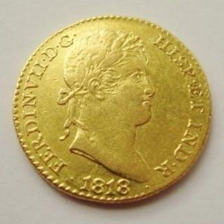 España - 2 Escudos Fernando VII Madrid -Ensayador GJ 1818 - Oro