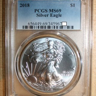 USA - 1 Dollar 2018 Silver Eagle in slab PCGS MS69 - Silber