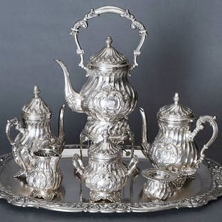 Gigantic Louis XV style Coffee and Tea Set - .915 silver...