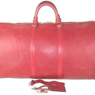 d308e1c95e29 Louis Vuitton - Castillion Red Epi Leather Keepall 55 Travel Bag ...