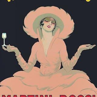Marcello Dudovich - Vermouth Bianco Martini & Rossi Torino (donna) - 1950
