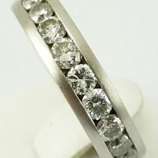 18 kt. White gold - Diamond Ring - 750 Gold - 9 Diamonds Diamond