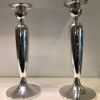 Pair of silver candlesticks - S. Kind Sons - 20th century