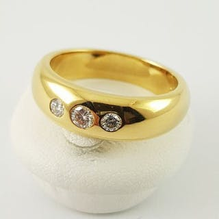 18 kt. Yellow gold - Diamond ring - 750 yellow gold - 3...