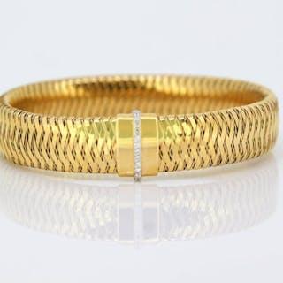 Roberto Coin - 18K Gold Primavera Mesh Diamond Bangle