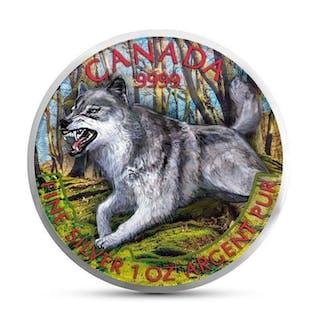 Kanada - 5 Dollar 2018 - Der Wolf - mit Colour applikation - 1 Oz - Silber