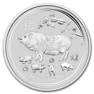 Australia - 10 Dollar 2019 Perth Mint Lunar II Jahr des Schwein - 10 oz- Silver
