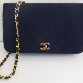 Chanel - navy blue cotton + dustbag and box Shoulder bag