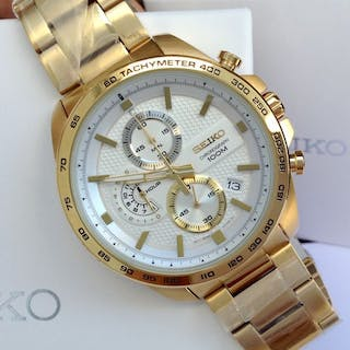 f141db7c284 Seiko - Gold Plated Chronograph Date White Dial - Men - 2011-present