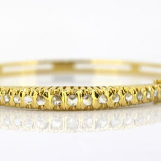 with diamonds, 1880 s - Antique Victorian 15k yellow gold ladies bangle 9d3b3310003